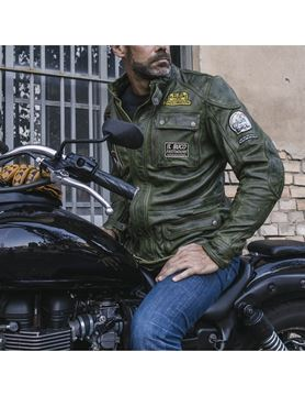Holyfreedom Quattro giacca moto in pelle military green